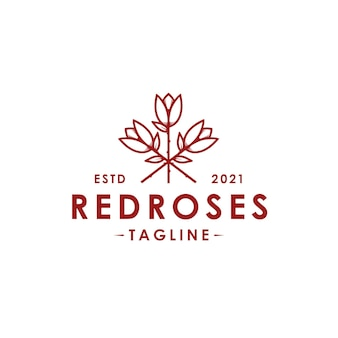 Red roses vector logo template isolated on white
