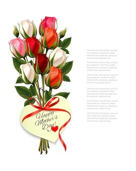 Красные розы с запиской happy mother's day в форме сердца и красной лентой. вектор.
