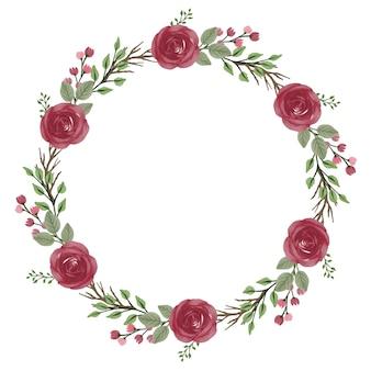 빨간 장미와 잎 테두리가 있는 빨간 장미 화환 원 프레임