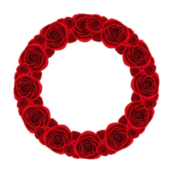 Red roses wreath on white background, beautiful flower frame