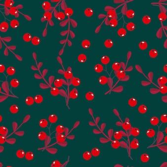 잎 원활한 패턴 벡터 일러스트 레이 션 레드 라운드 열매
