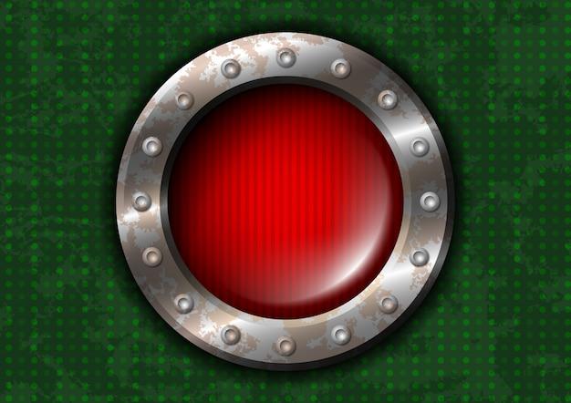 Красная круглая лампа с заклепками