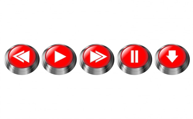 Red round multimedia buttons. pause, play, next, previous, download button. glossy chrome frame icon. 3d vector illustration isolated