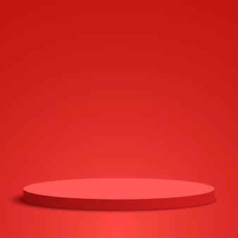 赤い丸い表彰台空白の台座シーンベクトル図