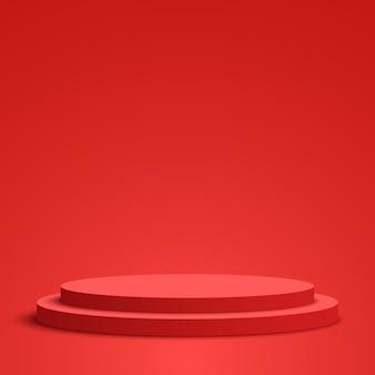 赤い丸い表彰台台座シーンベクトル図