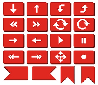 Red Rounded Rectangle Arrow Button