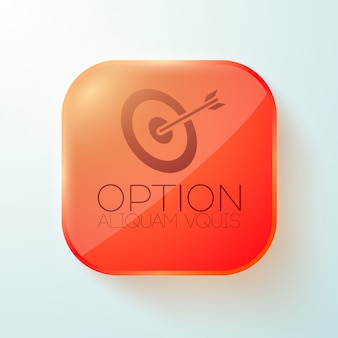 Red rounded square button with target