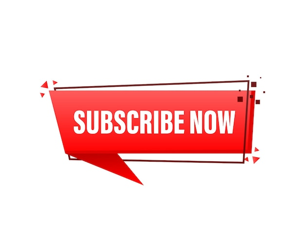 Red rounded subscribe button on white