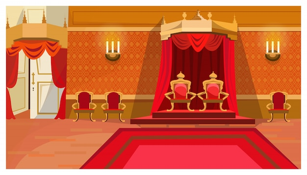 Red royal thrones in palace illustration