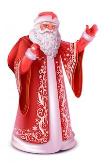Красный русский дед мороз делает приветствие машет рукой