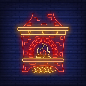 Red russian stove in neon style