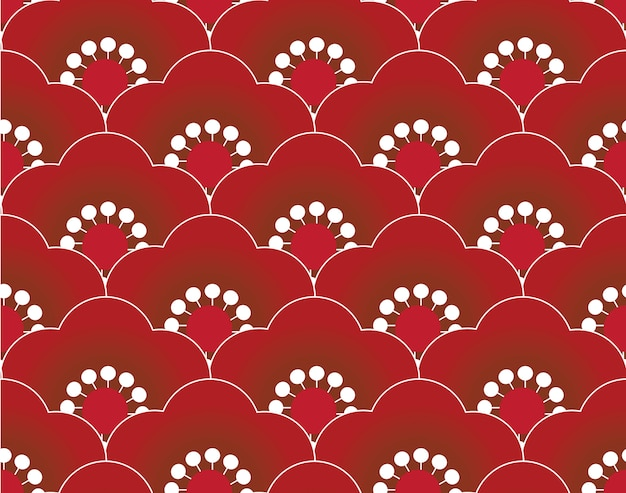 Red sakura seamless pattern