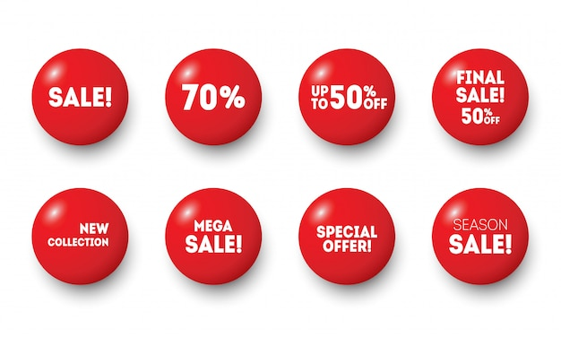 Red sale badges buttons. special offer shop button, new badge and season sale sticker circle label.