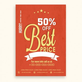 Red sale flyer template in vintage style