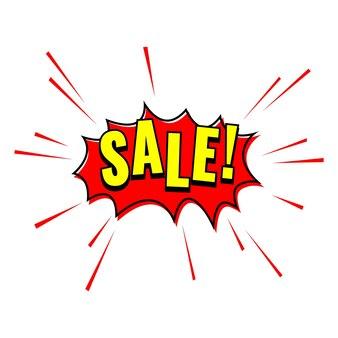Red sale label. pop art comic sale discount promotion banner.