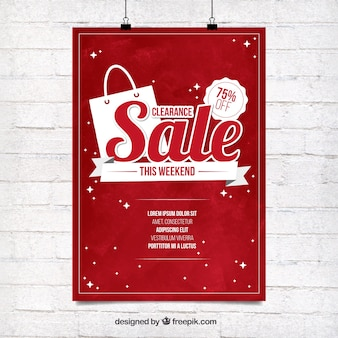 Red sale poster template