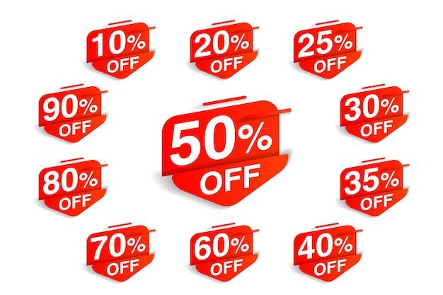 ブラックフライデーの特別価格セットの赤いセールタグとラベル。白い背景で隔離のショッピングマーケティングと広告ベクトルイラストのクリアランステキストと割引オファースティッキーバッジ
