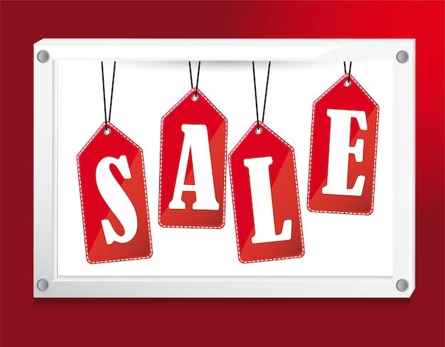 Red sale tags over banner vector illustration