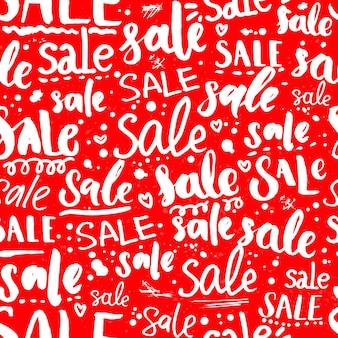 さまざまなスタイルの手書きテキストと赤いセールテクスチャ。プロモーションと広告のシームレスなパターン。パッケージとショーウィンドウのデザインのベクトルレタリングの背景。