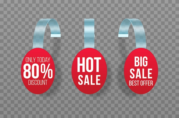 Red sales tags wobblers with text discount sticker special offer plastic price banner