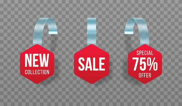 Red sales tags wobblers with text discount sticker special offer plastic price banner Premium Vector