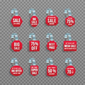 빨간색 판매 태그 wobblers 텍스트 벡터 할인 스티커 특별 제공 플라스틱 가격 배너