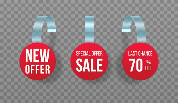 Red sales tags wobblers with text vector discount sticker special offer plastic price banner