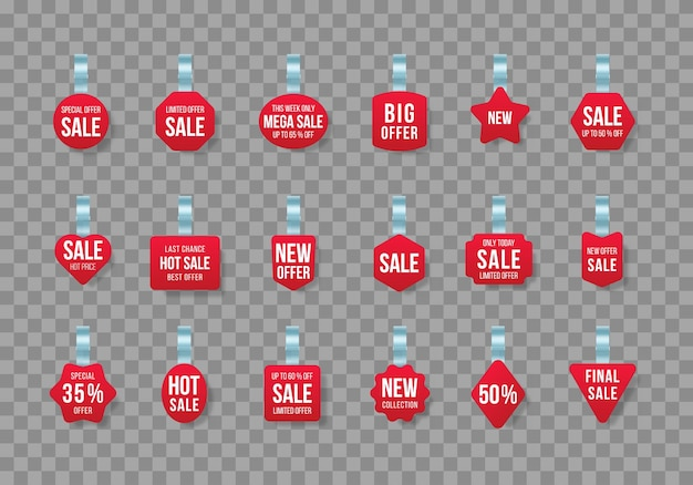 Красные бирки продаж качается с текстом векторная скидка наклейка специальное предложение пластиковый ценник