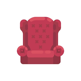 Red santa claus armchair illustration. cozy furniture flat icon