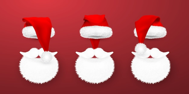 Red santa claus hat and santa beard on red background.