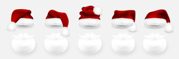 Red santa claus hat and santa beard on white background.