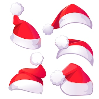Red santa claus hats for christmas or new year