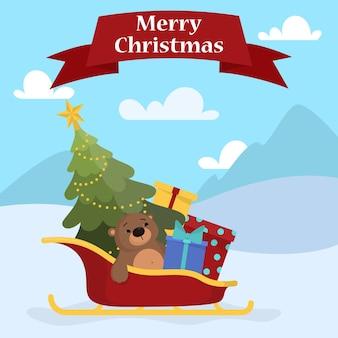 赤いサンタクロースのそりのクリスマスプレゼントがいっぱい。冬の背景に緑の木をそり。グリーティングカードの装飾。漫画のスタイルのイラスト