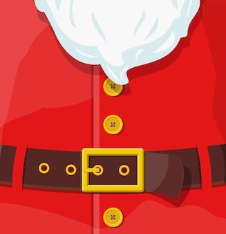 赤いサンタクロースのスーツ。ゴールドバックル付きレザーベルト、ボタン付きホワイトヒゲ。新年あけましておめでとうございます装飾。メリークリスマスの休日。新年とクリスマスのお祝い。