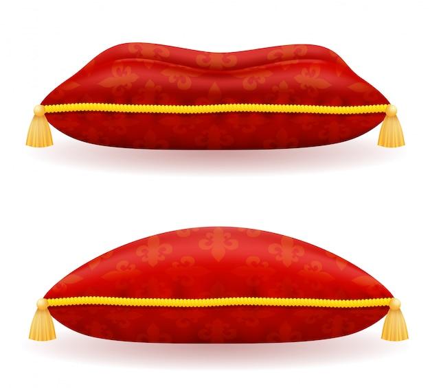 Красная атласная подушка