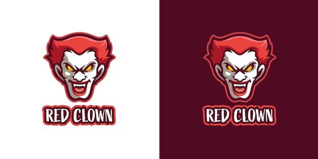 赤い怖いピエロのマスコットのキャラクターのロゴのテンプレート