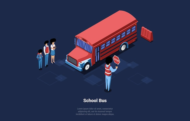 Red school bus on blue dark of group of people around. male and female students characters standing near vehicle