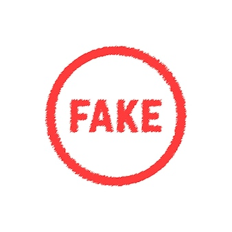 Red scribble fake sign. concept of forgery, falsehood, falseness, fraudulent, untruth, frustration, not truth, forgery. flat style trend modern logotype design vector illustration on white background