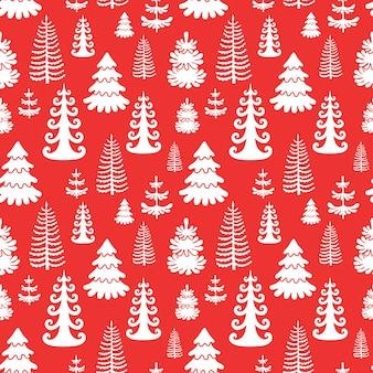 크리스마스 나무와 레드 원활한 패턴