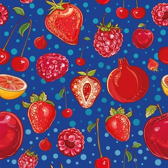Красный фон с фруктами и ягодами: гранат, клубника, вишня, малина, яблоко, грейпфрут. иллюстрация фруктов и ягод. свежий, сочный и цветной.