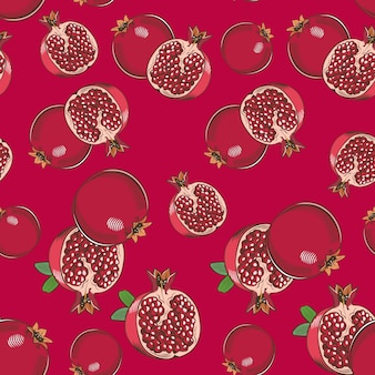 Red seamless pattern with pomegranates in vintage style
