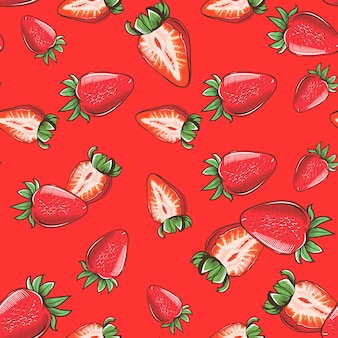ビンテージスタイルのイチゴと赤のシームレスパターン