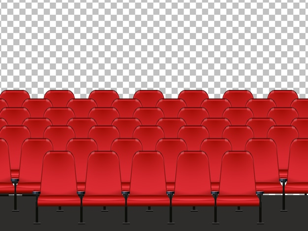 Red seat in the cinema with transparent