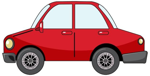 白い背景で隔離の漫画スタイルの赤いセダン車