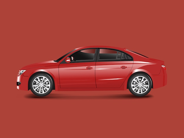 Red sedan car in a red background vector