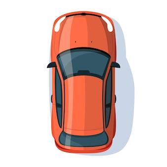 赤いセダンセミフラットrgbカラーベクトルイラスト。道路での輸送。自動車との旅。路上でのハッチバックオート。個人の車両は、白い背景の上の漫画オブジェクトの上面図を分離しました