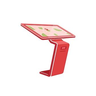 Красный киоск самообслуживания плоский цветной объект. интерактивная панель для покупок клиентов. следите за информацией. терминал изолированные иллюстрации шаржа для веб-графического дизайна и анимации