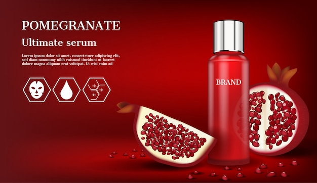 Red serum with icons and slice pomegranate