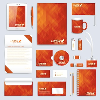 Red set layout of  corporate identity template. business stationery
