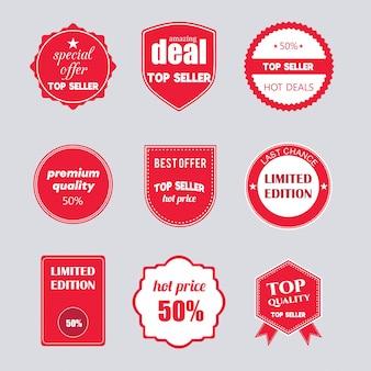 フラットデザインの販売シールのセットオンラインショッピング製品プロモーションのウェブサイトとモバイルウェブサイトのバッジ広告の印刷物のためのベクトル図